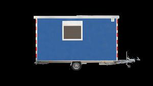 Zijaanzicht schaftwagen met schaftruimte, opslagruimte en optionele ruimte voor sanitair