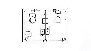 RECO's mobiele toiletunit met 2 toiletten, een urinoir en elektrische verwarming