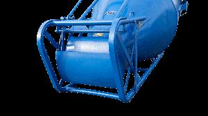De lekklep van de onderlosser onder de betonkubel van 2000 liter